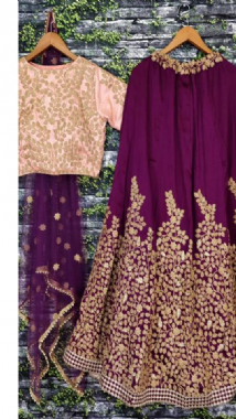 Purple Embellished Lehenga With Contrast Blouse